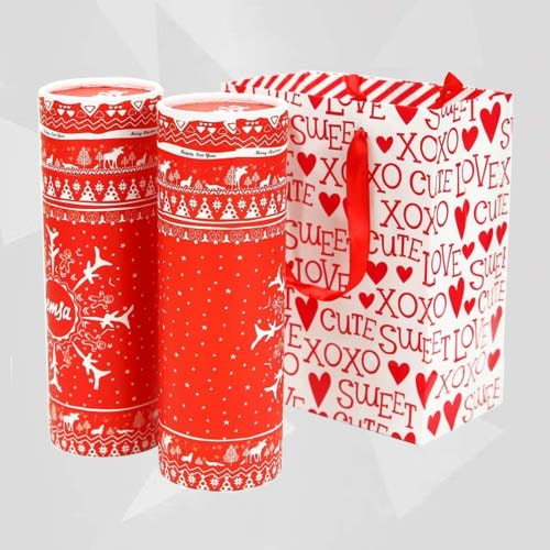 Christmas Gift Boxes With Lids 2 Round Cardboard Gift Box Pack In Bag
